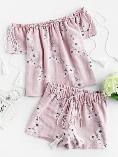 Tasseled Tie Blossom Bardot Top And Shorts Set
