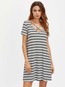 Striped Crisscross V Neck Ribbed Swing Tee Dress