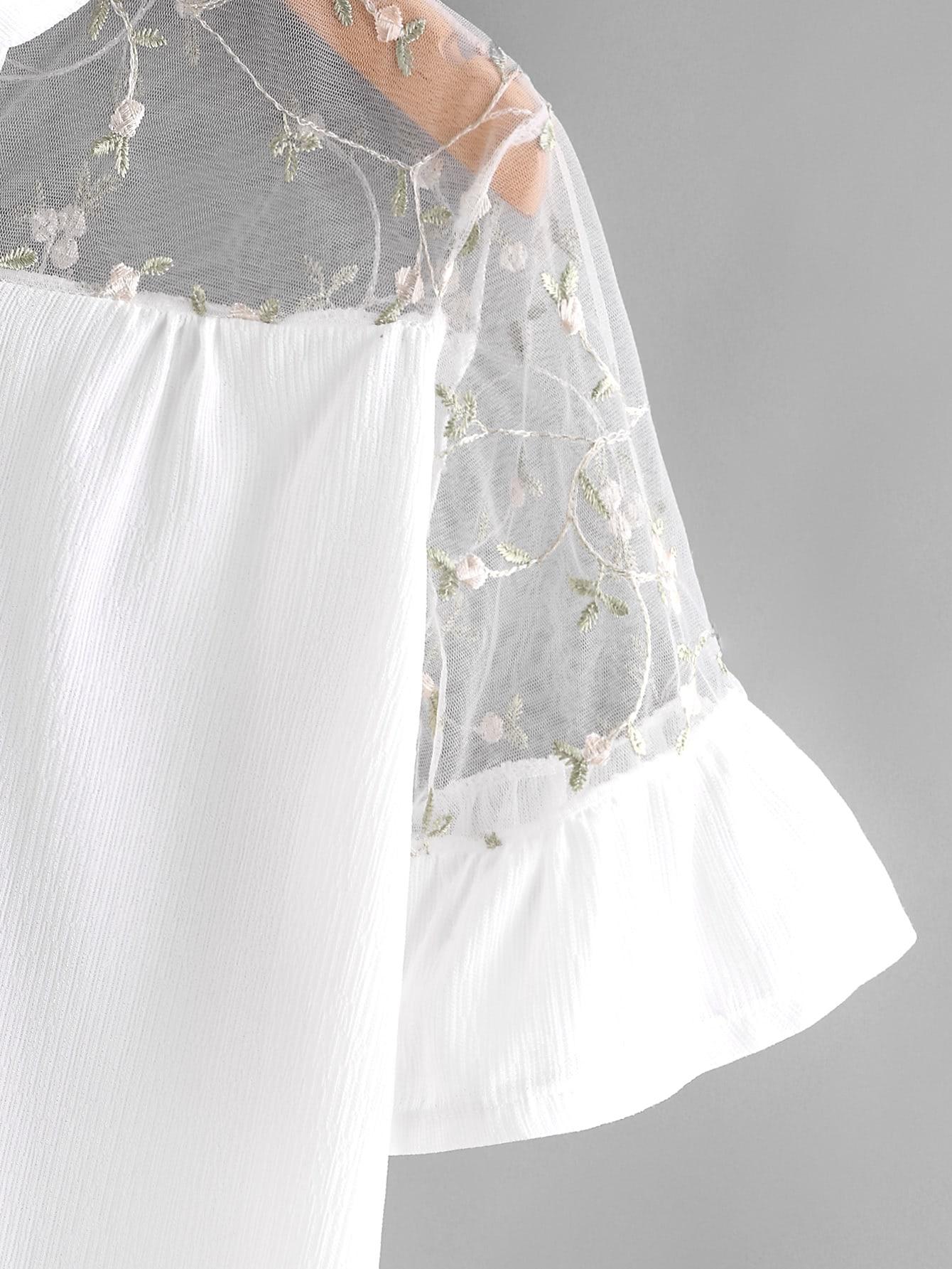 Embroidery mesh yoke frill cuff shirt shein sheinside