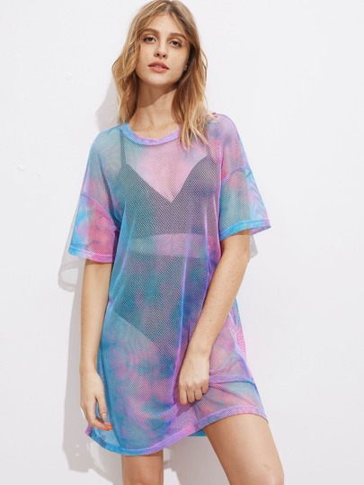 Drop Shoulder Tie Dye Fishnet Cover Up Dress