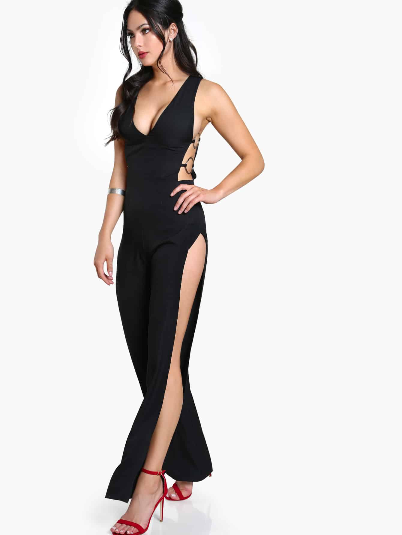 Sleeveless O Ring Side Cut Out Jumpsuit Black Shein