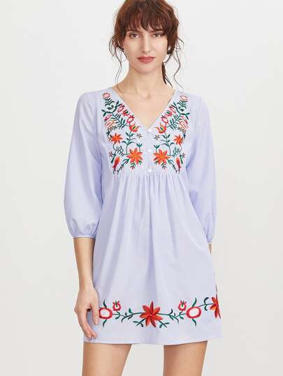 Striped Button Front Lantern Sleeve Embroidered Dress
