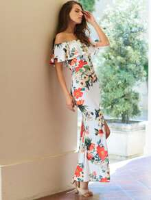 Flounce Layered Neckline Florals Slit Back Fishtail Dress