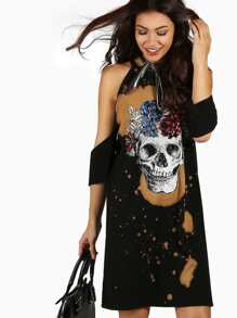 Flower & Skull Tie Dye Tunic Dress BLACK