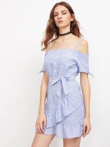Cold Shoulder Pinstripe Tiered Frill Hem Dress With Belt