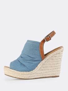 Denim Ruched Slingback Espadrilles Wedges DENIM