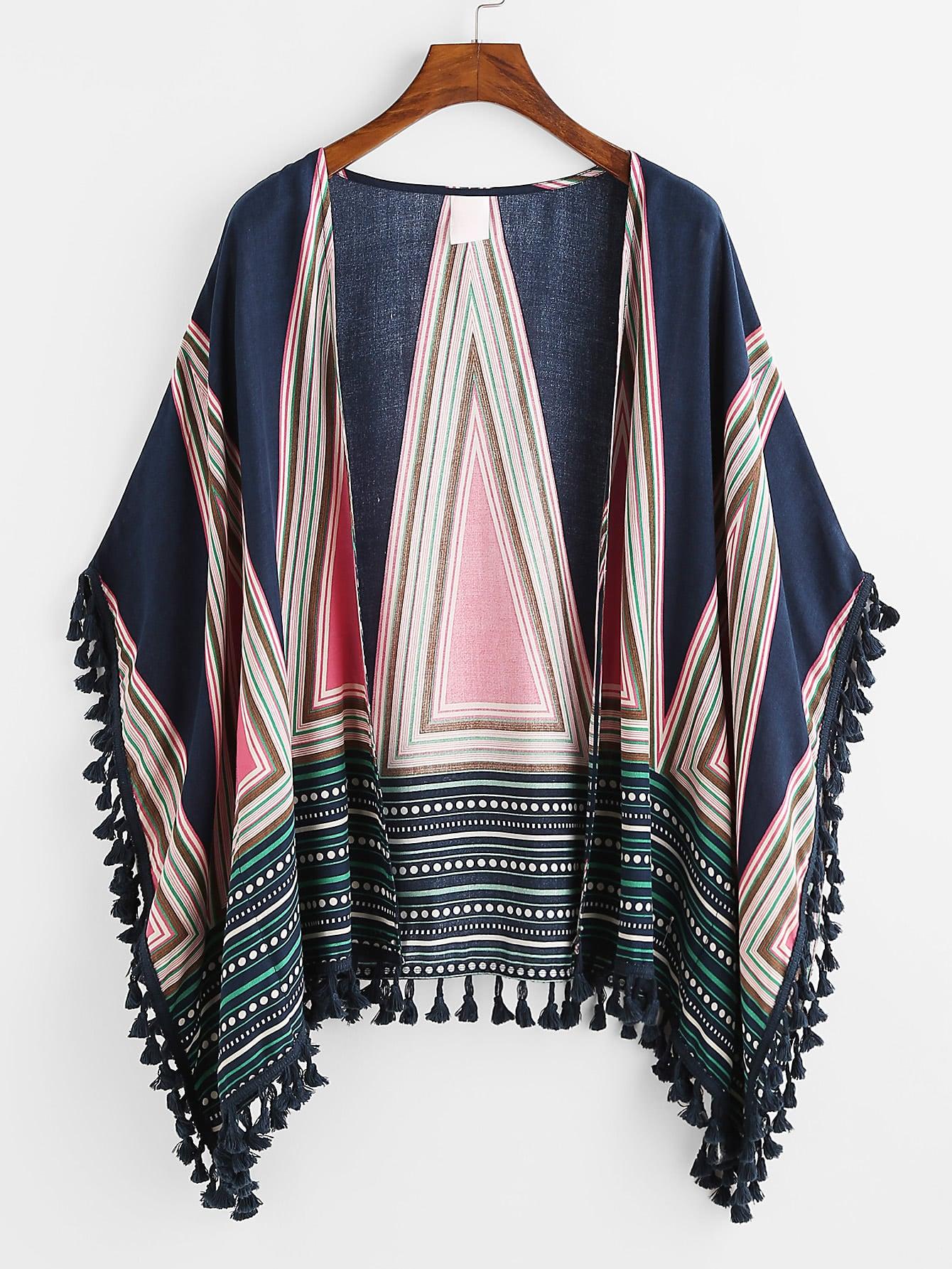 Tassel Trim Geo Print Kimono