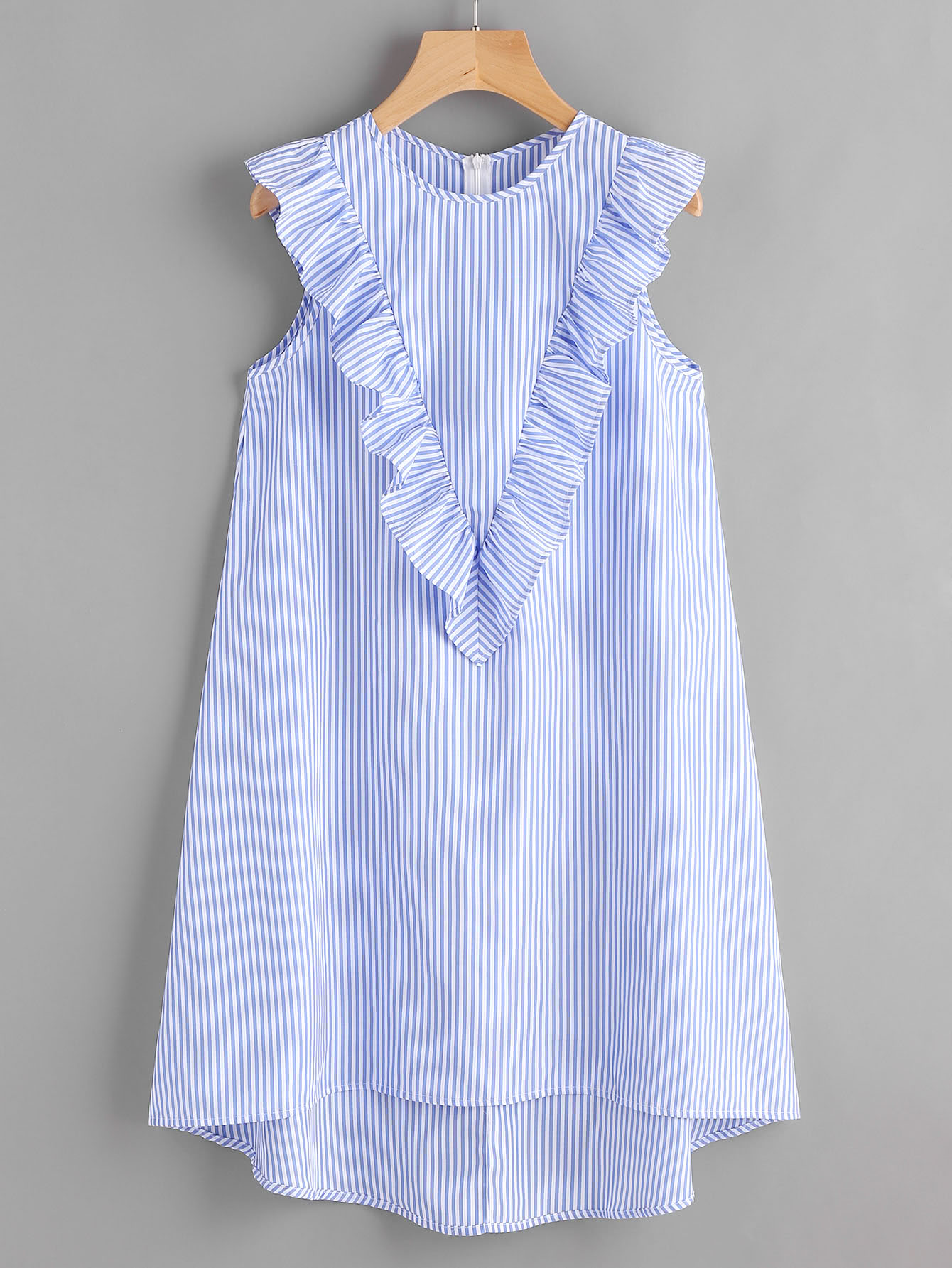 Zip Back Ruffle Yoke Striped Dress zip back fit and flare splicing dress