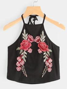 Rose Embroidered Patch Ribbed Halter Top