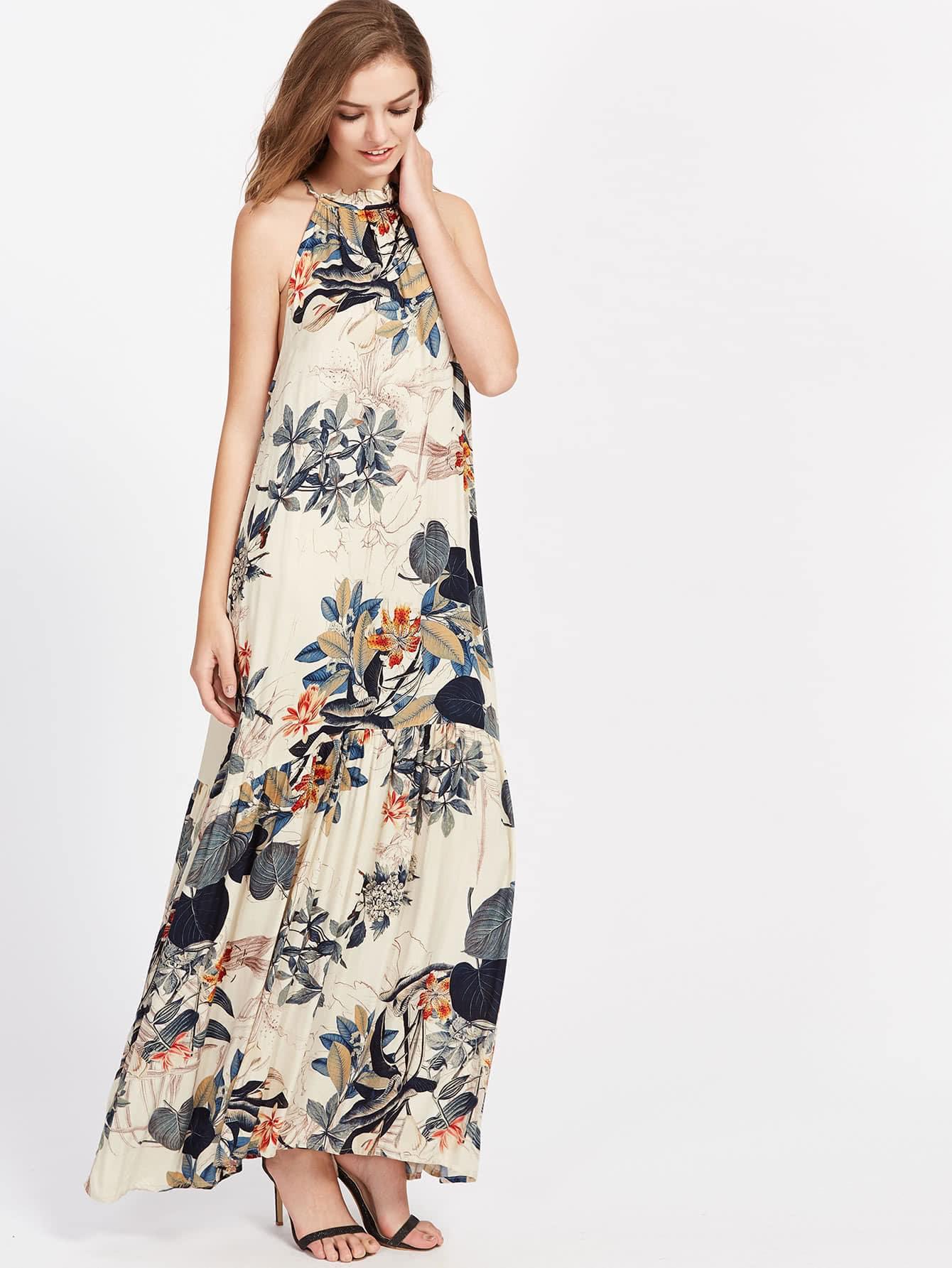 Фото Tropical Print Frilled Halter Neck Smock Dress. Купить с доставкой