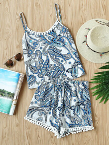 Pom Pom Trim Paisley Print Cami Top And Shorts Set