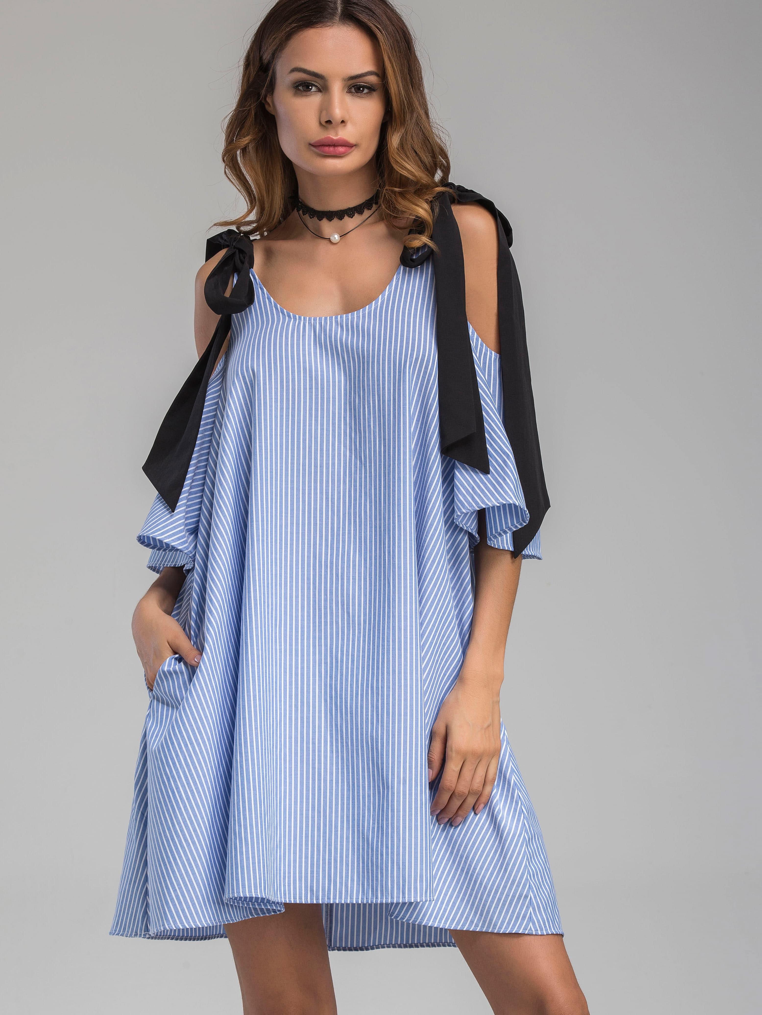 Купить Модное платье в полоску с бантом и открытыми плечами, Andy, SheIn