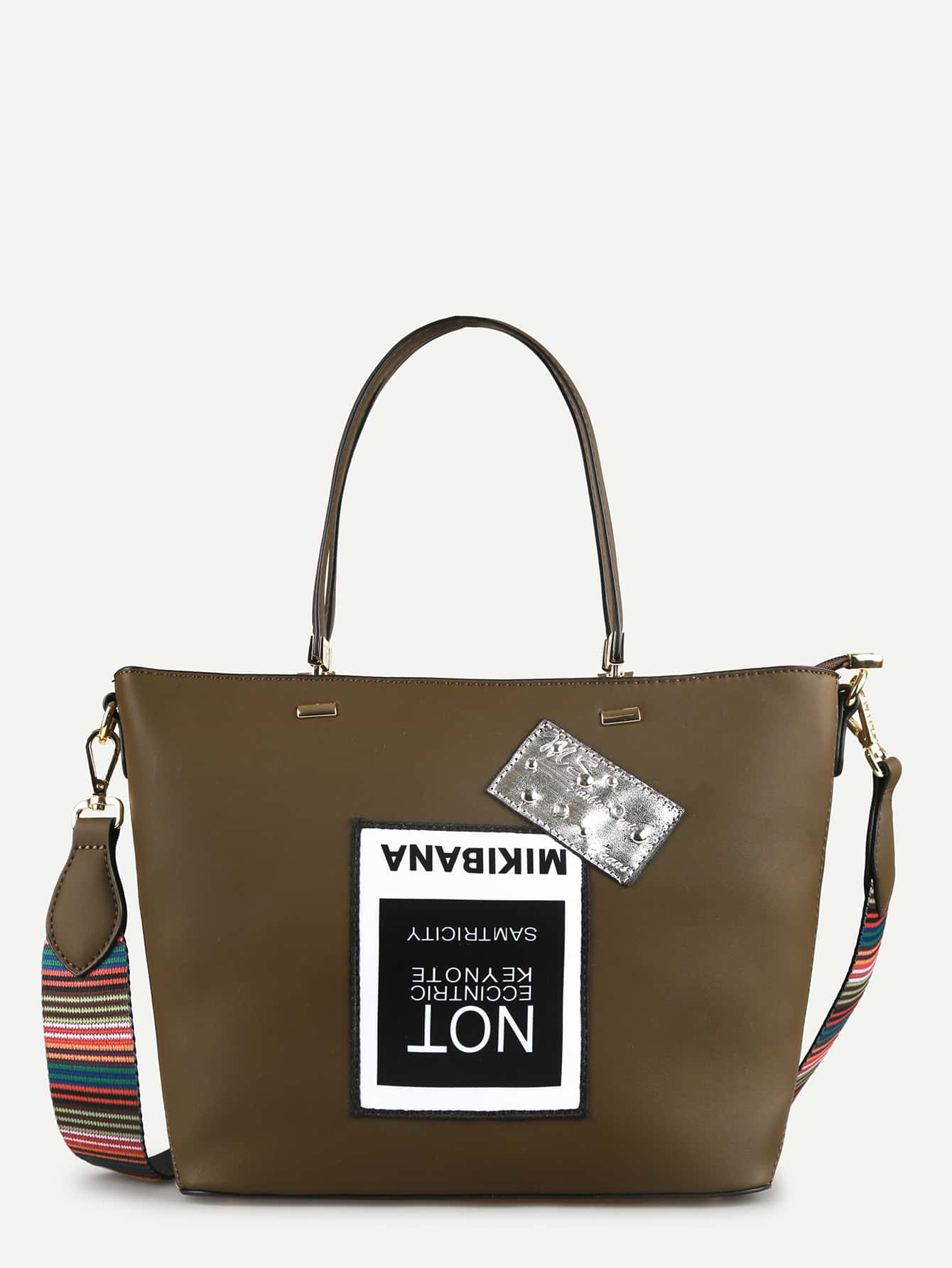 Фото Contrast Strap Shoulder Bag With Patch. Купить с доставкой