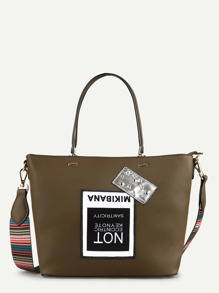 Contrast Strap Shoulder Bag With Patch