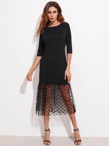 Contrast Sheer Polka Dot Mesh Dress