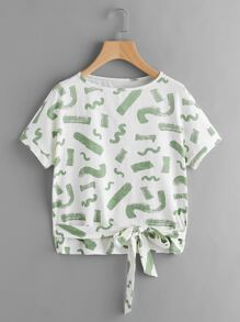 Tee-shirt imprimé du dessin avec des nœuds papillon