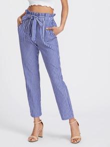 Pantalons taille ruchée à rayures avec un lacet