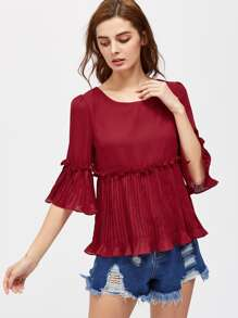 Frill Detail Pleated Cuff And Hem Smock Top