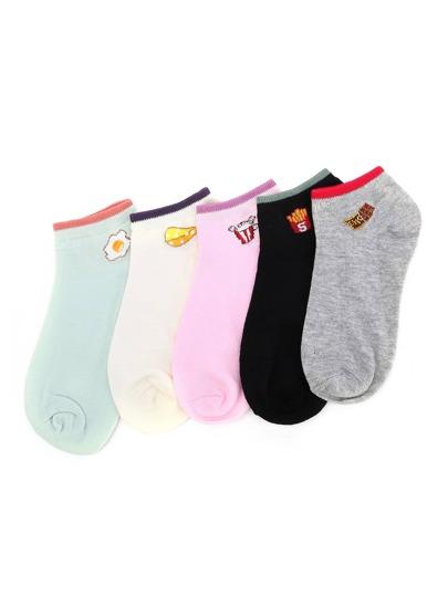 Контрастные модные носки 5 шт.