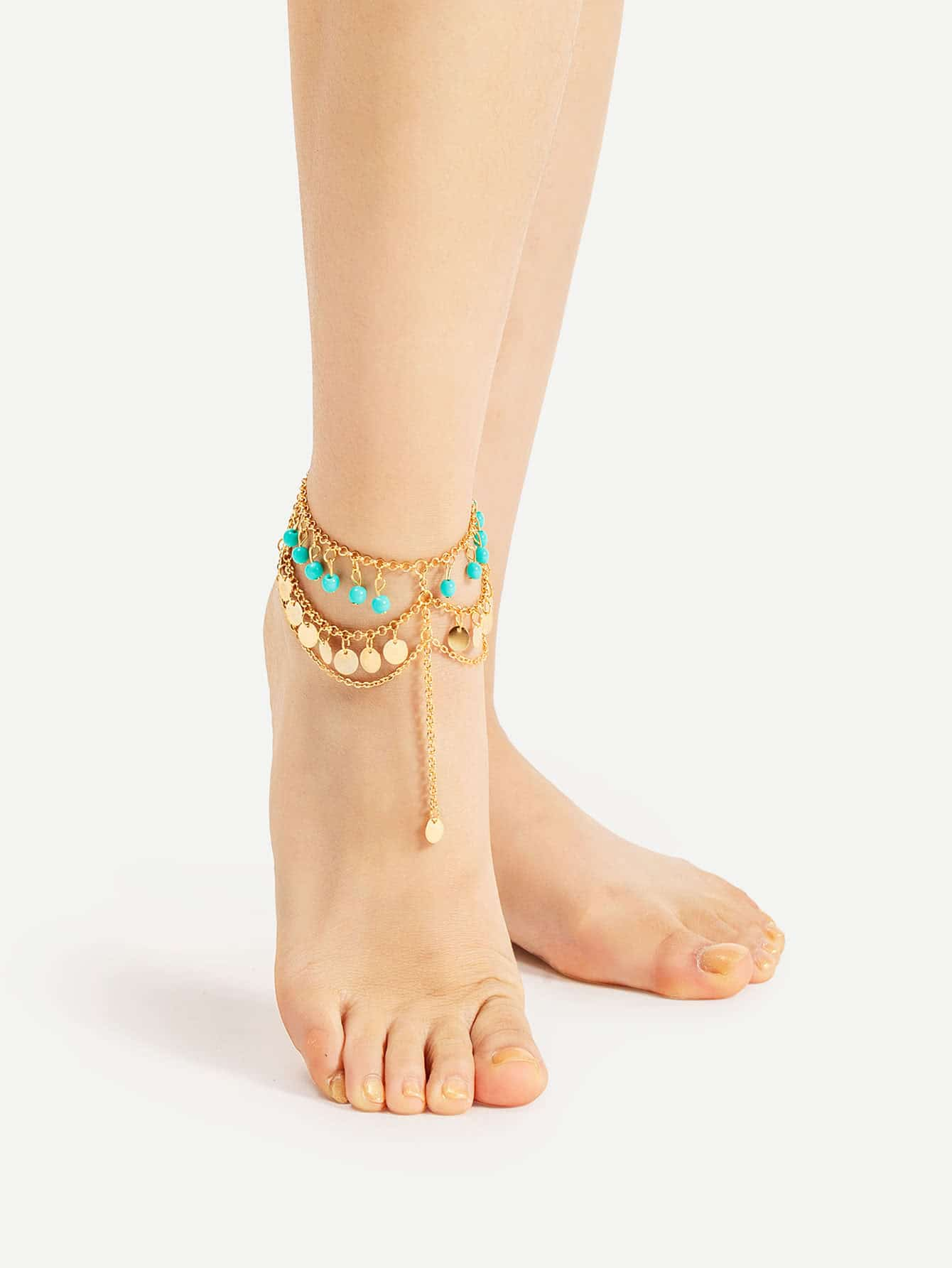 Image of Beaded And Sequin Chain Layered Anklet