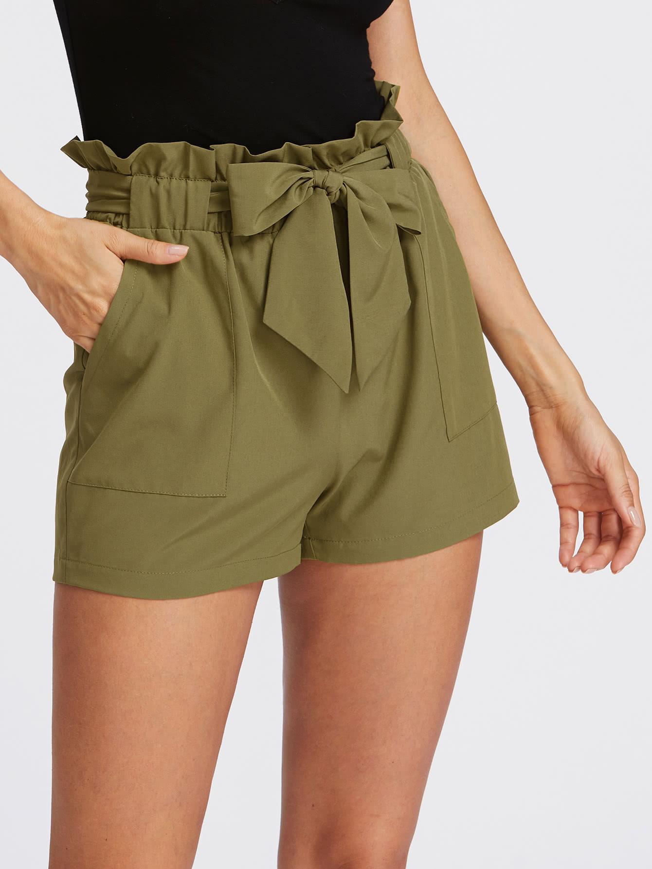 Self Tie Ruffle Waist Shorts self tie waist ruffle skirt