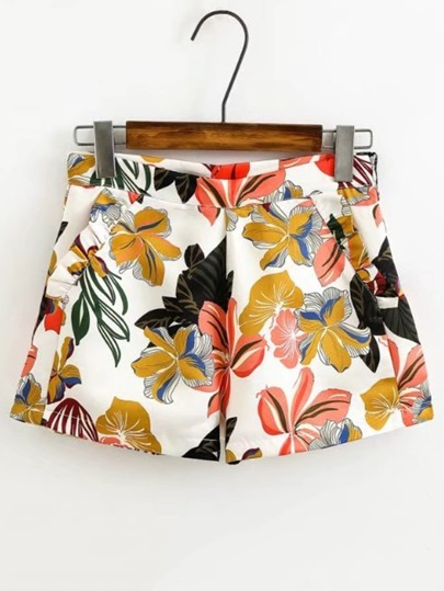 Flower Print Zipper Side Shorts