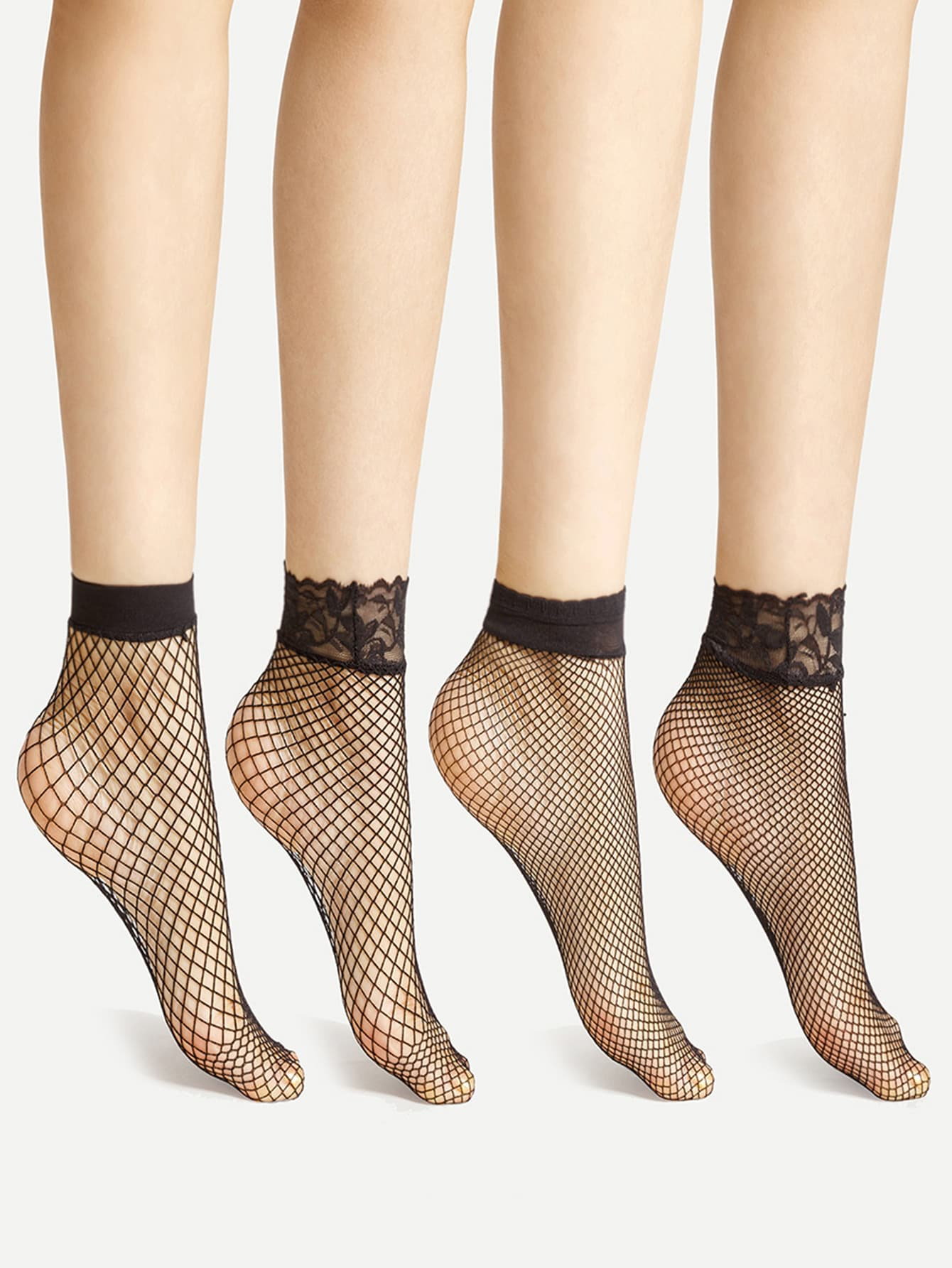 Lace Cuff Fishnet Ankle Socks 4 Pairs new safurance 1 pairs long cuff soft