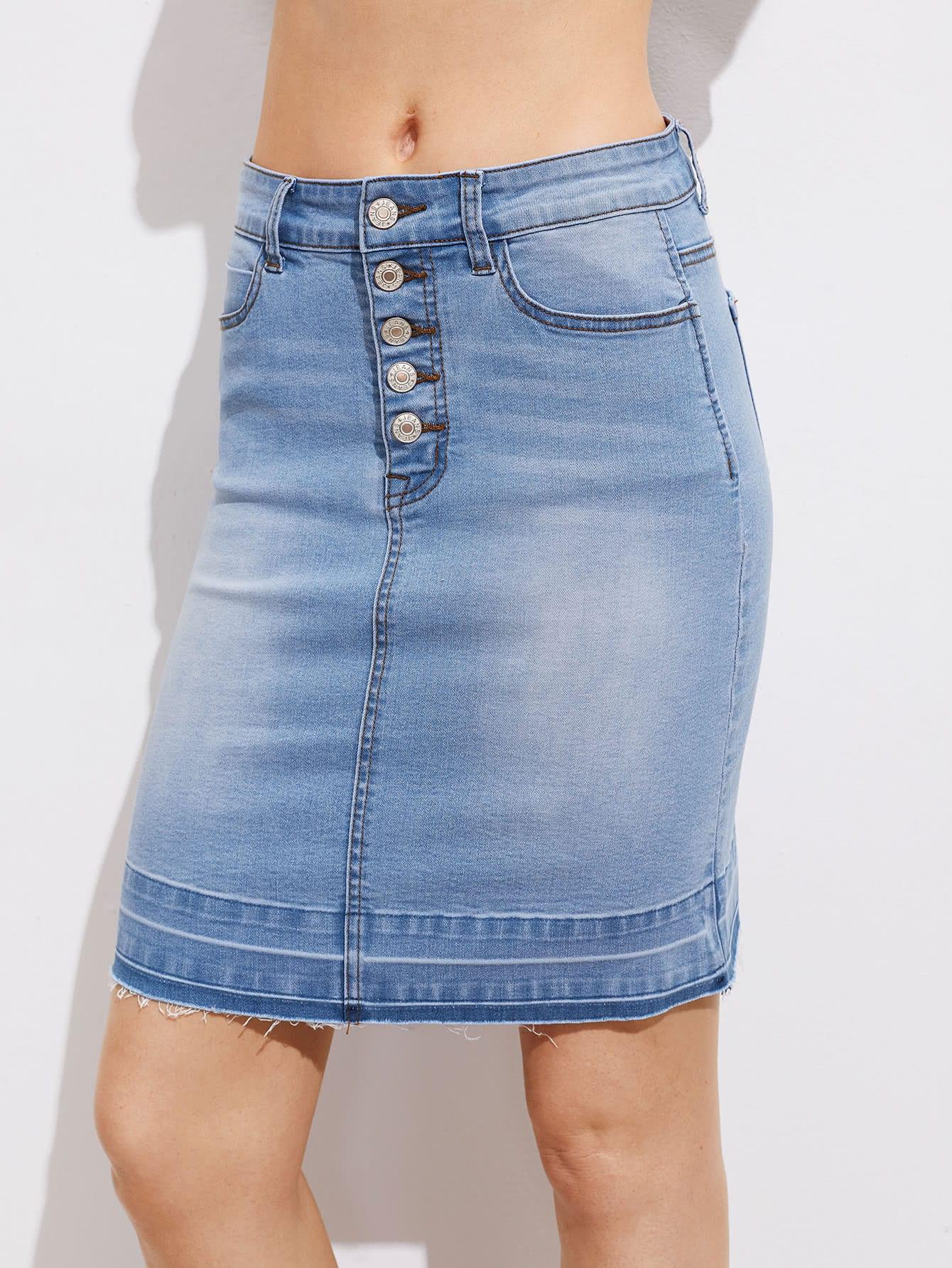 Фото Buttoned Fly Vented Back Bleach Wash Denim Skirt. Купить с доставкой