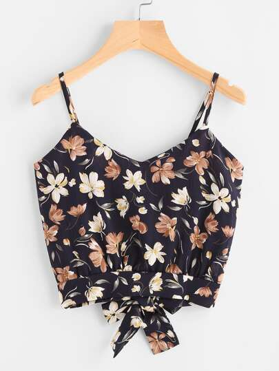 Floral Print Random Open Back Knotted Cami Top