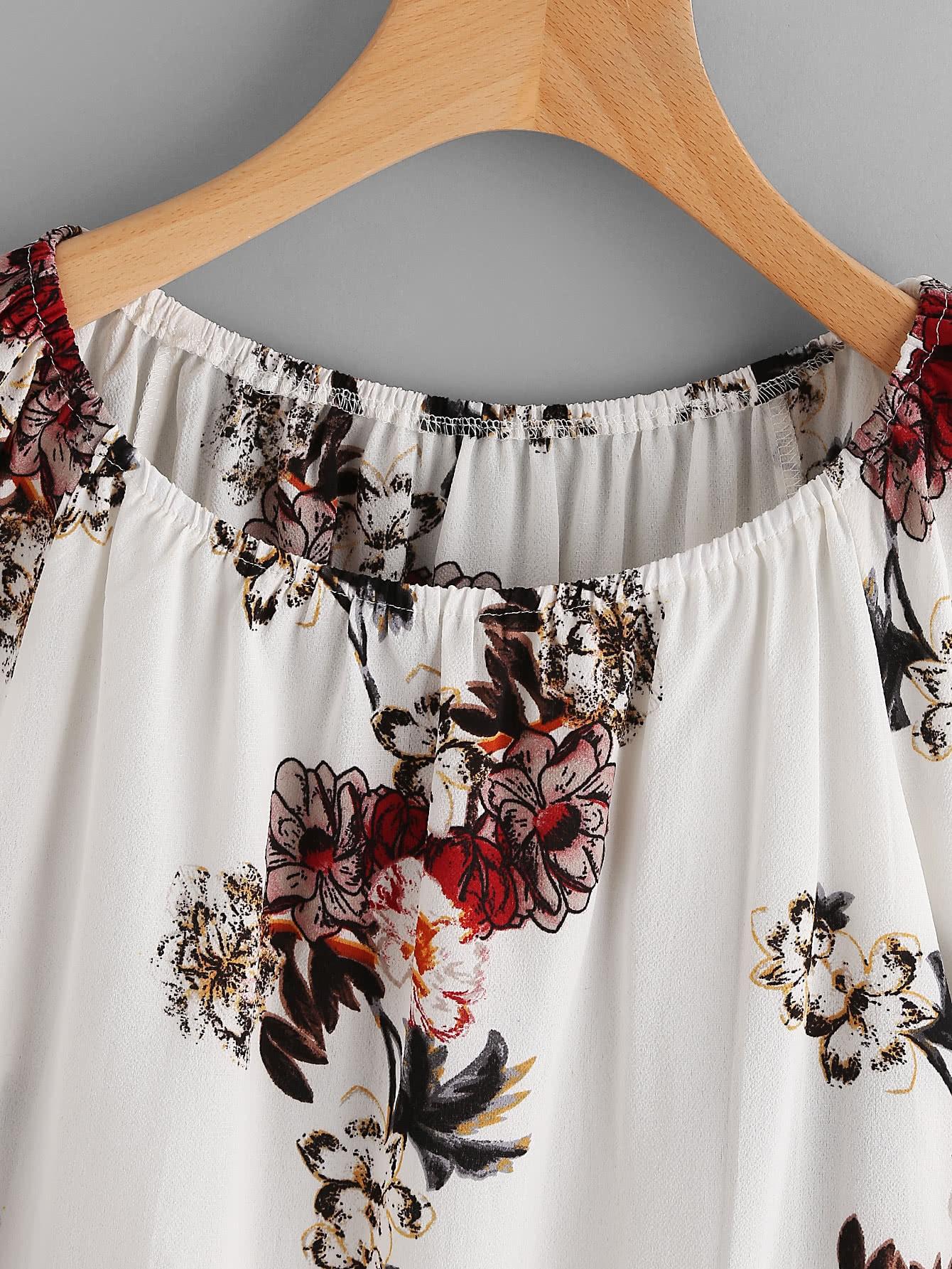 bluse mit blumen und falten german shein sheinside. Black Bedroom Furniture Sets. Home Design Ideas