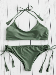 Tassel Tie Halter Bikini Set