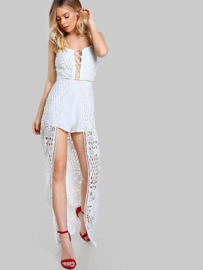 Lace Up Overlay Romper WHITE