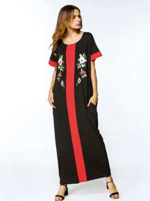 Contrast Panel Embroidered Appliques Full Length Dress