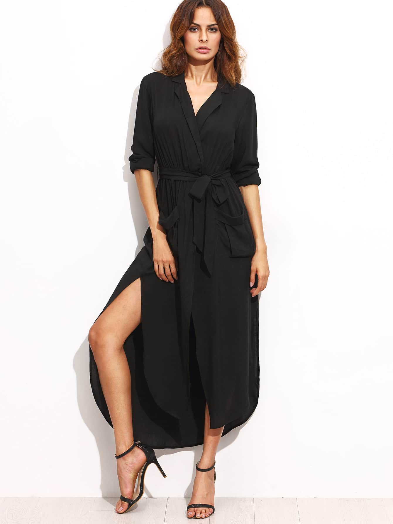 Lapel Tie Waist Slit Side Asymmetrical Dress