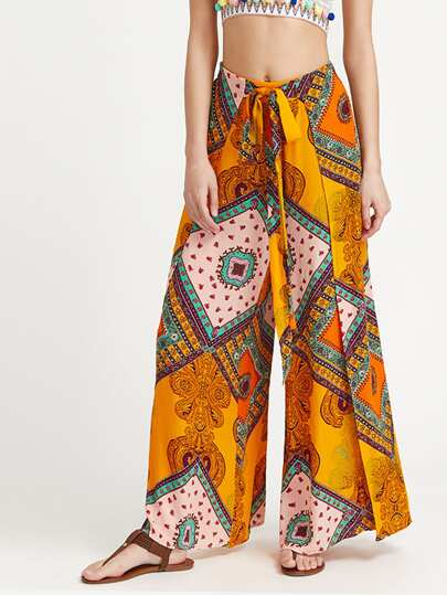 Ornate Print Self Tie Slit Culotte Pants