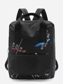 Formula Print Double Handle Canvas Backpack