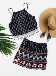 Cami Straps Tribal Print Fringe Top With Shorts