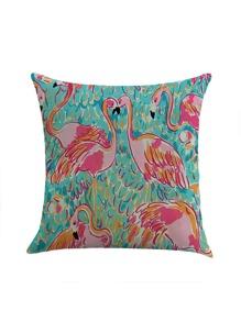 Funda de almohada con estampado de flamingo