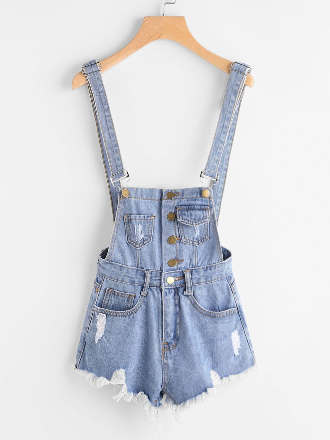 Image of Button Front Ripped Denim Overalls