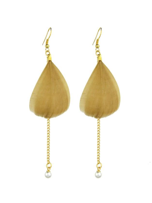 Фото Boho Style Brown Color Feather Long Chain Earrings. Купить с доставкой