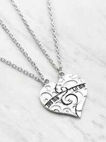 Heart Shaped Friendship Necklace 2pcs