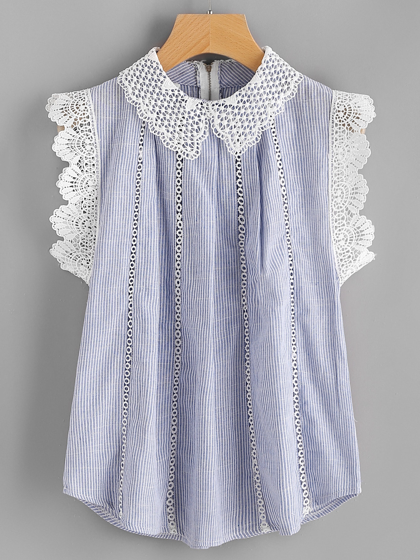 Contrast Scallop Lace Trim Pinstripe Blouse new customized fixed type 400w 450 ohm ceramic tube resistor