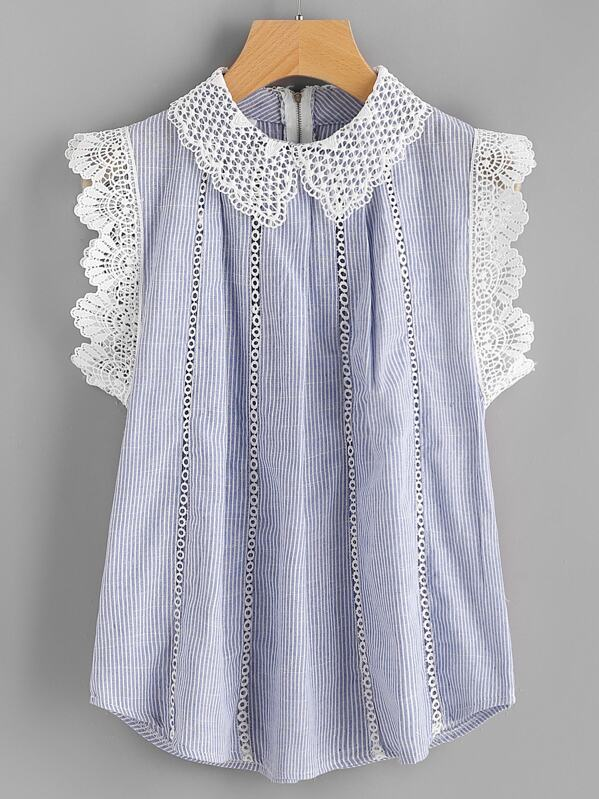 Contrast Scallop Lace Trim Pinstripe Blouse, null