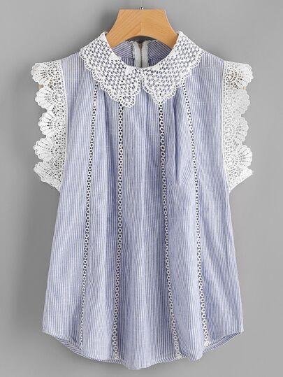 Blusa de rayas contraste de croché con encaje