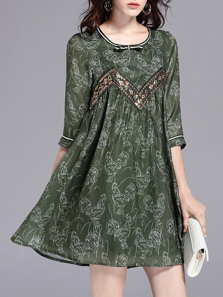 Фото Cock Print Bow Sequined Dress. Купить с доставкой