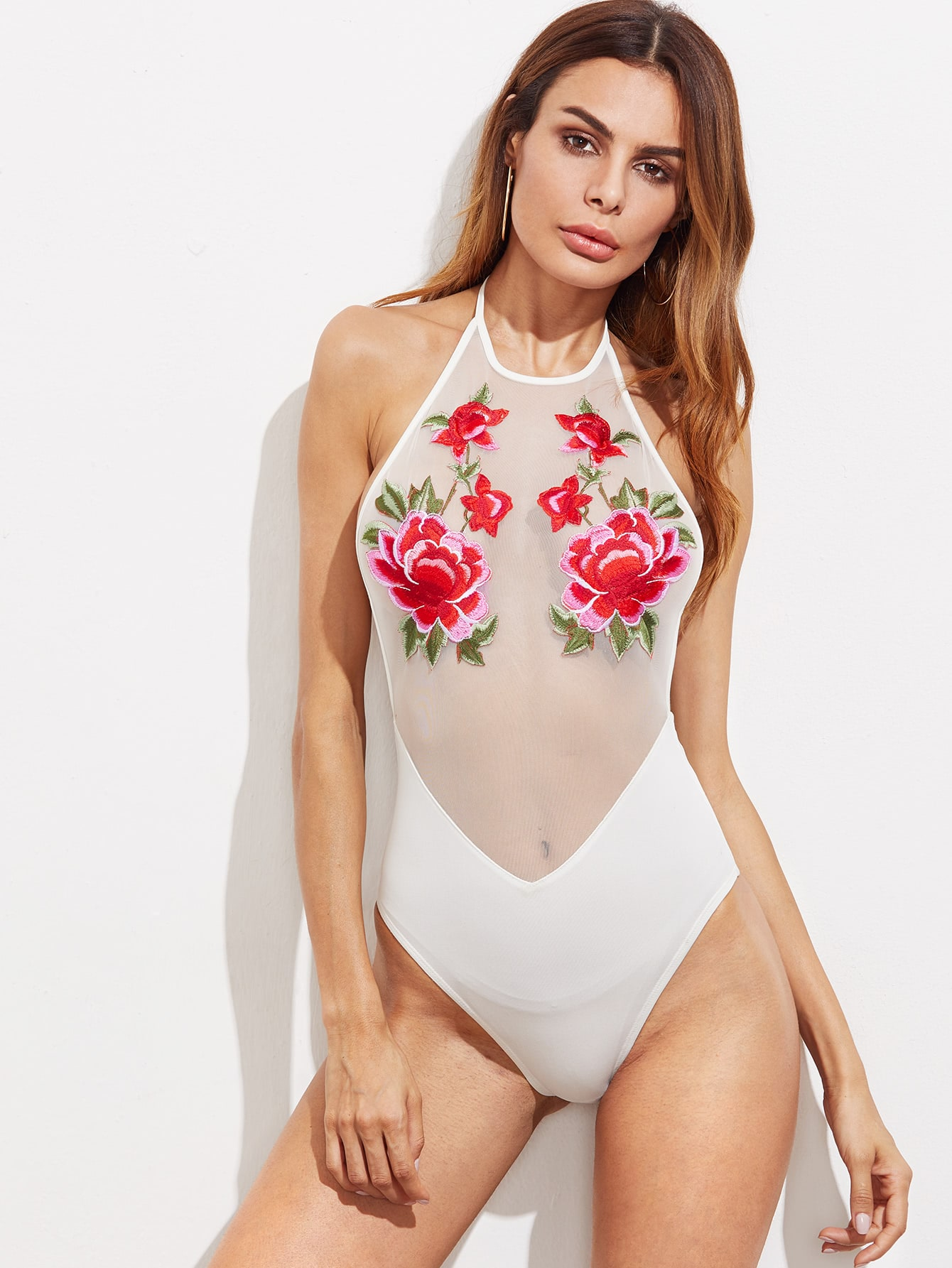 Фото Flower Applique Mesh Bodice Self Tie Halter Bodysuit. Купить с доставкой