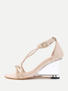 T-strap Clear Wedge Sandals
