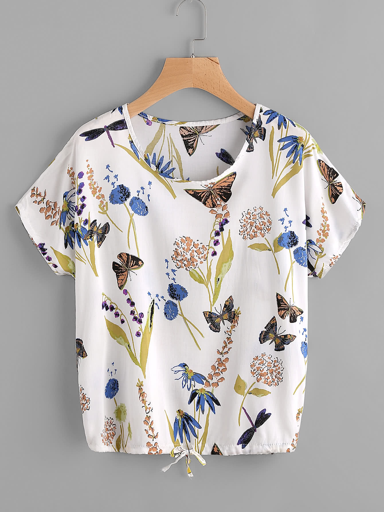 Butterfly Print Drawstring Top скатерть с кантом nepali lily 170х170 см p744 1815 1