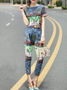 Vintage Print Top With Pockets Pants