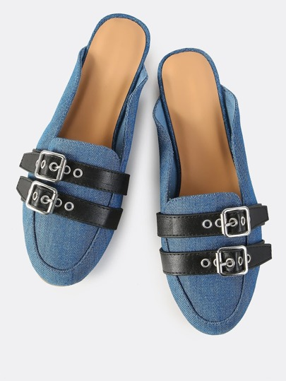 Denim Double Buckle Backless Flats DENIM